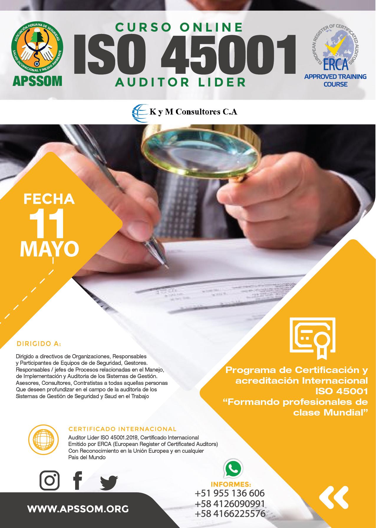 CURSO ONLINE ISO 45001 AUDITOR LÍDER ERCA