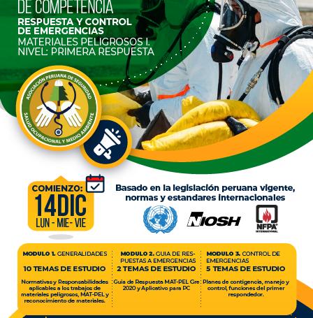 RESPUESTA Y CONTROL DE EMERGENCIAS CON MATERIALES PELIGROSOS I.               NIVEL: PRIMERA RESPUESTA